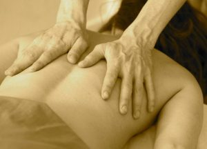 Image of back massage for car crash injuries and back pain.